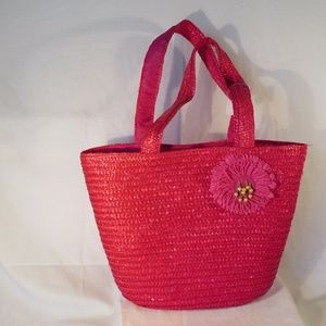 Pink Straw Bag with 10 1/2 in Strap
